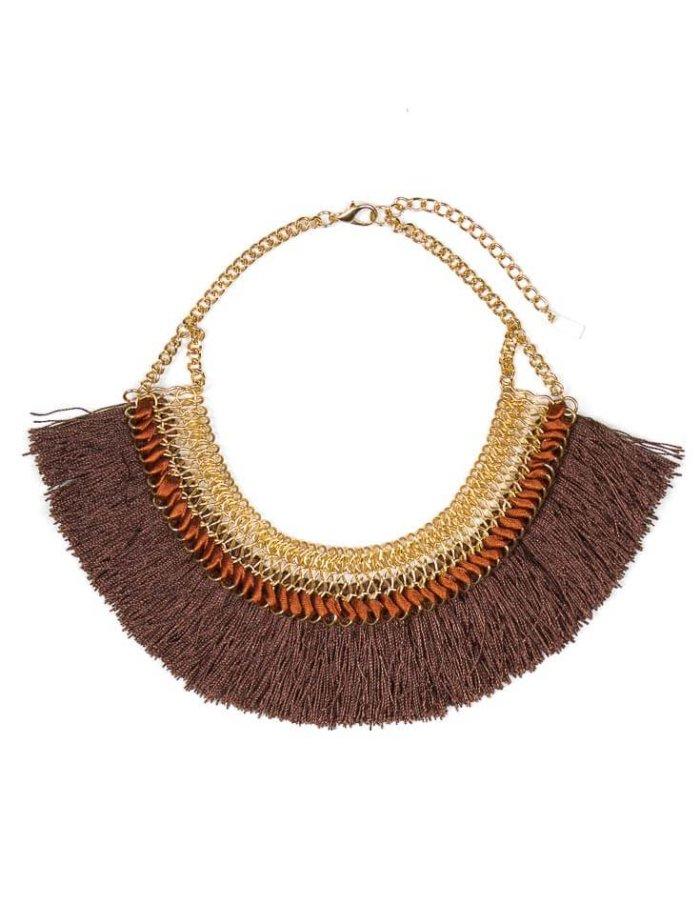 Golden Brown Fringe Necklace