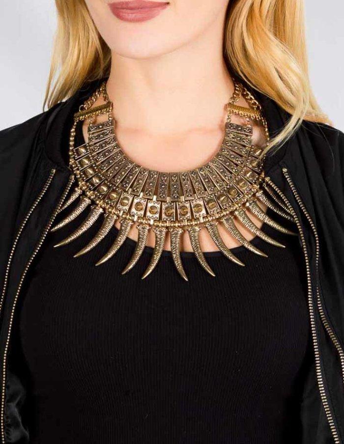 Ashriel Statement Necklace - Antique Gold